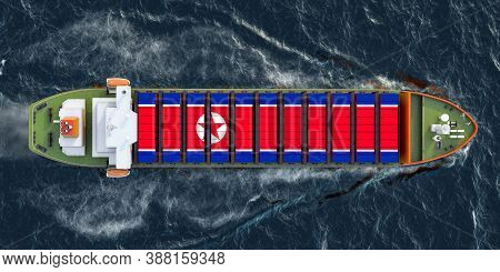 Freighter Ship With North Korean Cargo Containers Sailing In Ocean, 3d Rendering
