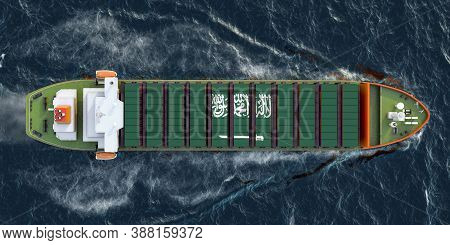 Freighter Ship With Saudi Arabian Cargo Containers Sailing In Ocean, 3d Rendering