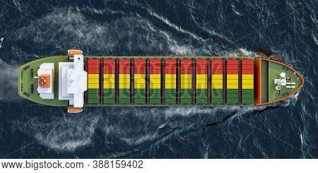 Freighter Ship With Bolivian Cargo Containers Sailing In Ocean, 3d Rendering