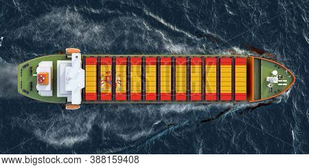 Freighter Ship With Spanish Cargo Containers Sailing In Ocean, 3d Rendering