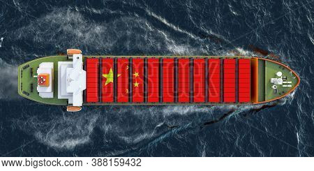 Freighter Ship With Chinese Cargo Containers Sailing In Ocean, 3d Rendering