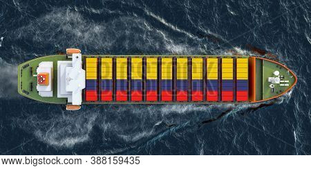 Freighter Ship With Columbian Cargo Containers Sailing In Ocean, 3d Rendering