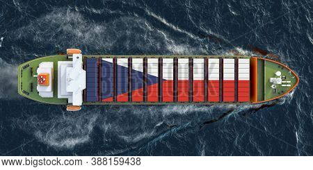 Freighter Ship With Czech Republic Cargo Containers Sailing In Ocean, 3d Rendering
