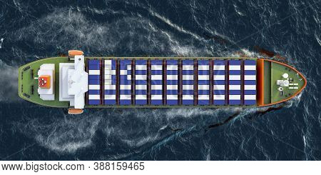 Freighter Ship With Greek Cargo Containers Sailing In Ocean, 3d Rendering