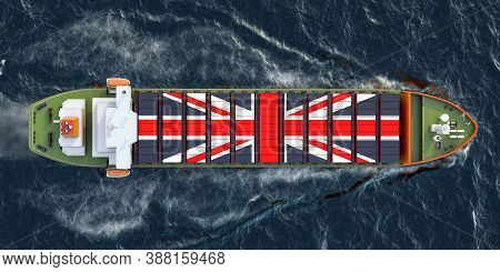 Freighter Ship With British Cargo Containers Sailing In Ocean, 3d Rendering