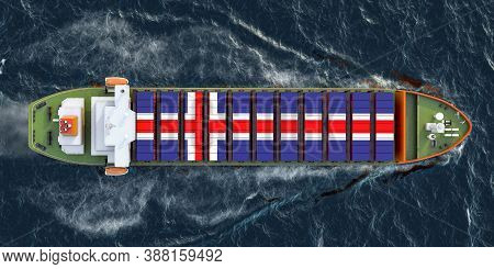 Freighter Ship With Icelandic Cargo Containers Sailing In Ocean, 3d Rendering
