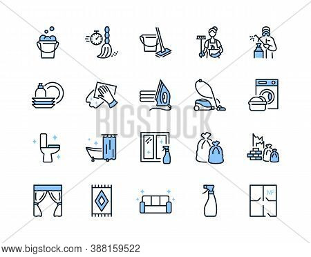 Cleaning Service Flat Line Icons Set Blue Color. Vector Illustration Sections Of Cleaning Company Se