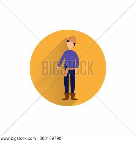 Builder Character Colorful Flat Icon With Long Shadow. Builder Flat Icon