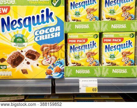 Belgrade, Serbia - September 10, 2020: Nesquik Logo On Cereal Boxes For Sale. Part Of Nestle Group,