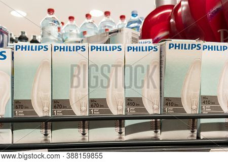 Belgrade, Serbia - September 17, 2020: Logo Of Philips On Incandescent Filament Light Bulbs For Sale