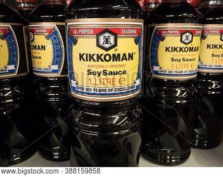 Belgrade, Serbia - September 20, 2020: Logo Of Kikkoman On Their Soy Sauce Bottle For Sale. Kikkoman