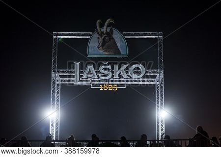 Belgrade, Serbia - August 17, 2018:  Giant Logo Of Lasko Pivo Beer On A Summer Outdoor Bar. Lasko Is
