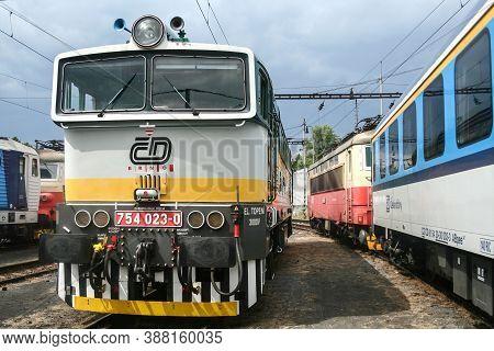 Brno, Czechia - June 21, 2014: Diesel Locomotive Class 754 From Czech Railways On Standby Before Dep