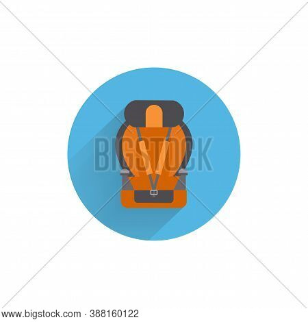 Car Seat With Sports Seat Belts Flat Icon. Car Seat Colorful Flat Icon With Long Shadow.