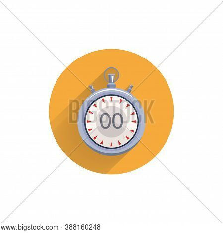 Stopwatch Colorful Flat Icon With Long Shadow. Stopwatch Flat Icon