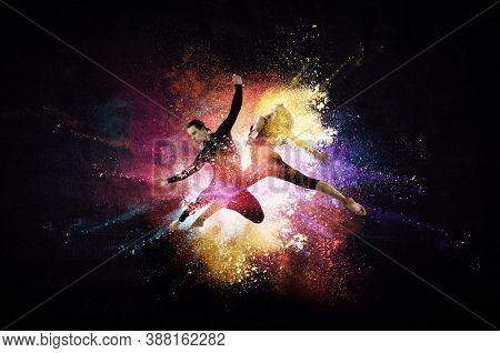 Female ana male dancers against colourful background