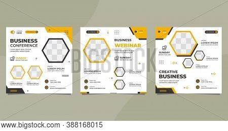 Set Of Minimalist Background With Hexagon Frame. Suitable For Social Media Post Template, Webinar, S