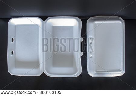 Top View Of Styrofoam Takeaway Boxes, White Foam Boxes, Rectangular Shaped Clamshell Style Container