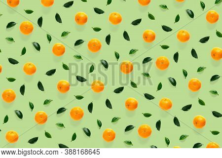 Isolated Tangerine Citrus Collection Background With Leaves. Tangerines Or Mandarin Orange Fruits On