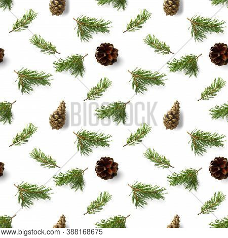 Seamless Christmas Pattern From Pine Cones And Pine Twig On White Background. Modern Pine Cone Patte