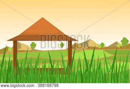 Hut In Asian Rice Field Green Paddy Plantation Agriculture Illustration