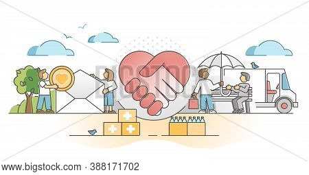 Charity Support As Social Solidarity And Help Gifts Donation Outline Concept. Philanthropy And Volun