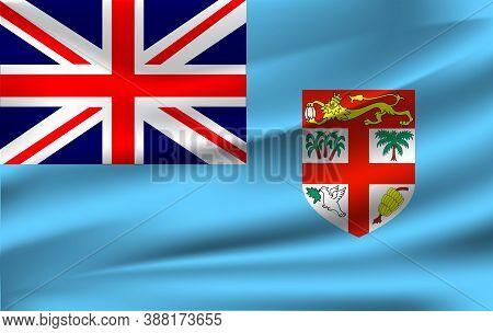 Realistic Waving Flag Of Fiji, The Waving Flag Of Fiji, High Resolution Fabric Textured Flowing Flag