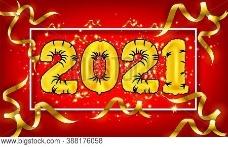 Golden New Year 2021 With Burst Glitter On Black Colour Background - Happy New Year 2021 Golden Back
