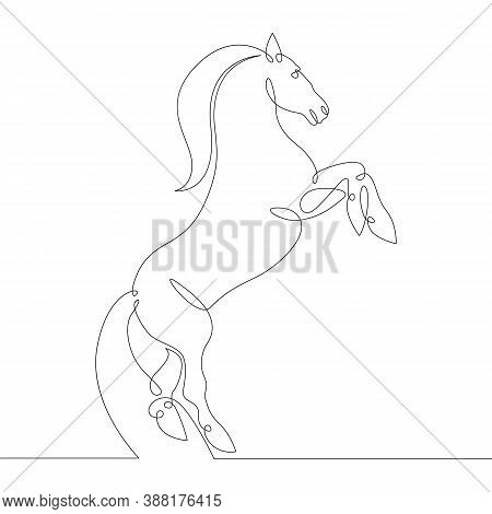 A Horse With A Lush Mane Reared Up.stallion Prances . One Continuous Drawing Line, Logo Single Hand