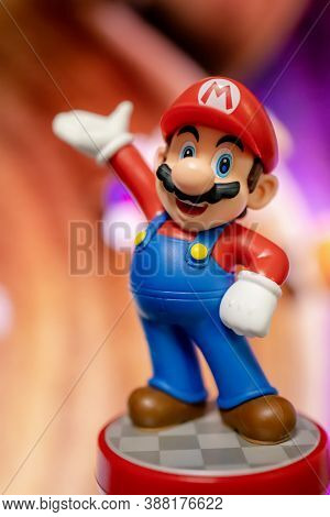MOSCOW, RUSSIA - August 22, 2020: Super Mario Bros figure character.Super Mario is a Japanese platform video game series and media franchise created by Nintendo and featuring their mascot, Mario.
