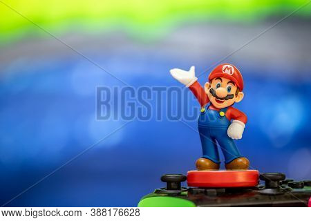 MOSCOW, RUSSIA - October 3, 2020: Super Mario Bros figure character.Super Mario is a Japanese platform video game series and media franchise created by Nintendo and featuring their mascot, Mario.