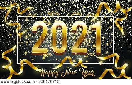 2021 New Year Golden 3d Number Design With Burst Glitter On Black Colour Background - Happy New Year
