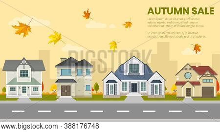 Set Of Houses Outdoors, Autumn House Sale, House Selection, House Project, Real Estate Concept, Flat