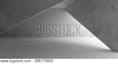 Abstract Empty, Modern Concrete Room With Indirect Lighting And Diagonal Walls And Rough Floor - Ind