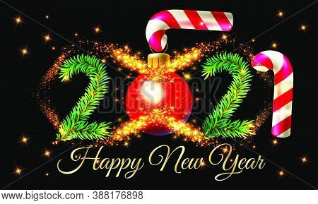 2021 Happy New Year Text Design With Golden Light Background  Vector Illustration - Happy New Year 2