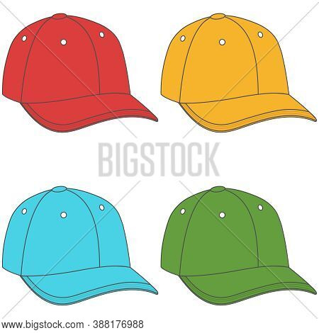 Baseball Cap, Set Of Multi-colored Baseball Caps Isolated On White Background. Vector, Cartoon Illus