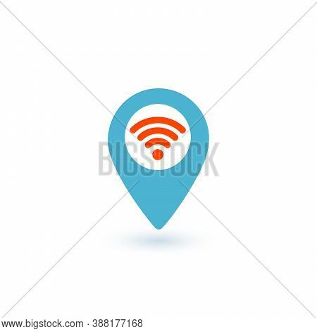 Wifi Map Pin Point Blue And Red Icon. Wifi Map Point Sign, Hotspot, Free Wifi Place. Stock Vector Il