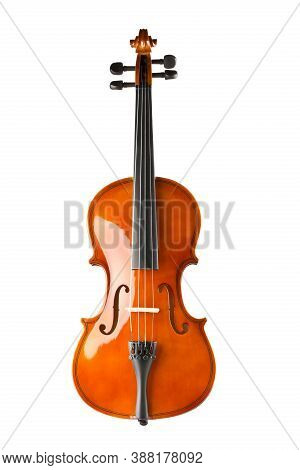 Brown Wooden Fiddle Or Violin, Classic Musical Instrument, Isolated On White Background, Selective F