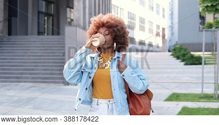 Young Stylish African American Beautiful Curly Woman With Bag Walking At City Street, Drinking Coffe