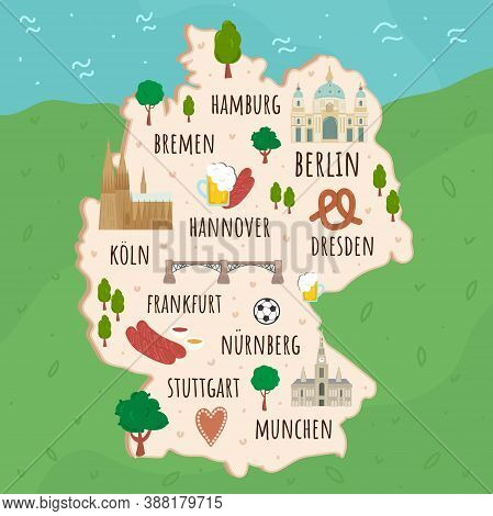 Cartoon Map Of Germany. Travel Illustration With German Landmarks, Buildings, Food And Plants. Funny