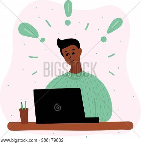 Vector Cartoon Illustration Of African Black Boy Blogging In Internet, Learn Or Plying Game. Some Ex