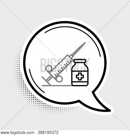 Line Medical Syringe With Needle And Vial Or Ampoule Icon Isolated On Grey Background. Vaccination,