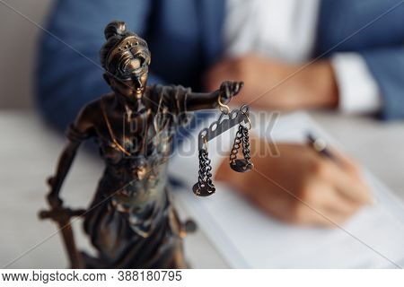 Lawyer Office. Statue Of Justice With Scales And Lawyer. Legal Law, Advice And Justice Concept