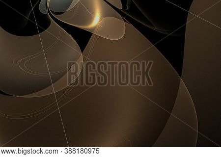 Creative background with powerful and bright abstract sun, waves and sinuous shapes, decorative image for advertising or designs