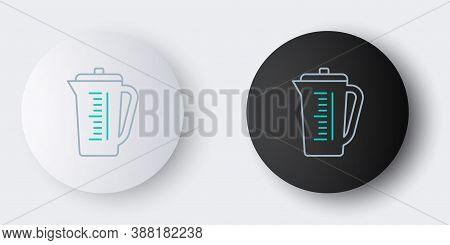 Line Measuring Cup To Measure Dry And Liquid Food Icon Isolated On Grey Background. Plastic Graduate