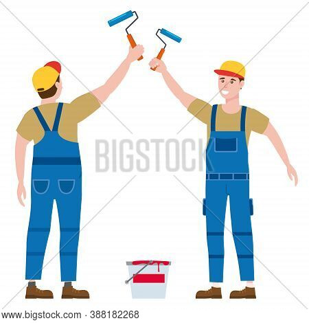 Construction Worker Painter With Rollerbrush And Paint Bucket In Workwear. Back And Front View Craft