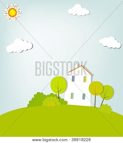 landscape with a house on the hill