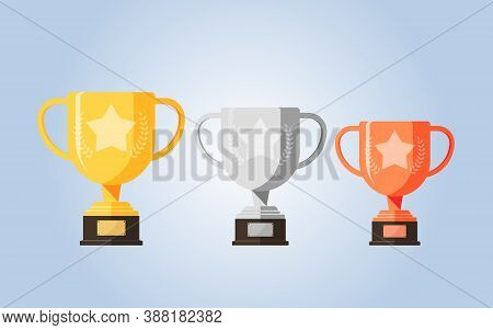 Winner Gold, Silver, Bronze Trophy. Number One Award Prize And Metallic Trophies. Golden & Metal Win