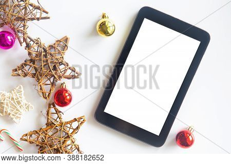 White Christmas Top View Of An Desk Office Table. White Office Desk Top With Christmas Decoration. W