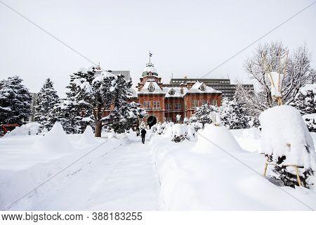 Former Hokkaido Government Office Building, Beautiful Winter And Snow In Sapporo, Hokkaido, Japan